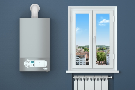 Photo for Heating house  Gas boiler, window, heating radiator  - Royalty Free Image