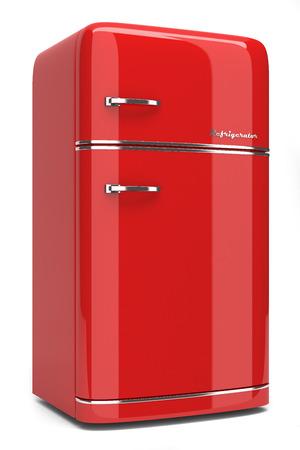 Photo pour Retro refrigerator isolated on white background - image libre de droit