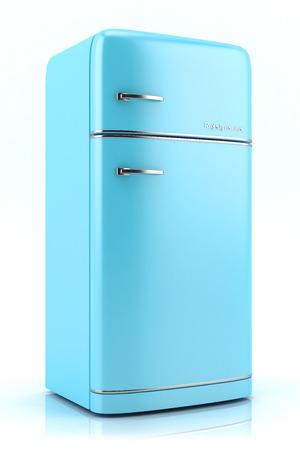 Photo for Blue retro refrigerator isolated on white background - Royalty Free Image