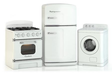 Photo pour Set of home retro appliances isolated on white background - image libre de droit
