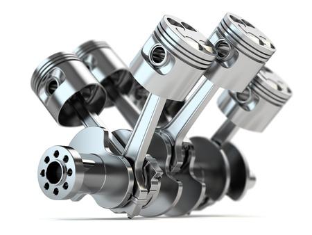 Photo pour Crankshaft V6 engine isolated on white background - image libre de droit