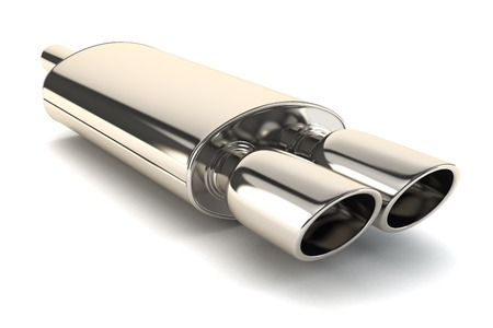 Photo pour Chrome exhaust pipe isolated on white background - image libre de droit