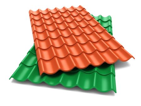Photo pour Shingles roof sheets isolate on white background - image libre de droit