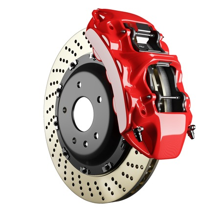 Foto de Automobile braking system. Aeration steel brake disk with perforation and red six pistons calipers and pads. Tuning auto parts. Isolated on white background 3d. - Imagen libre de derechos