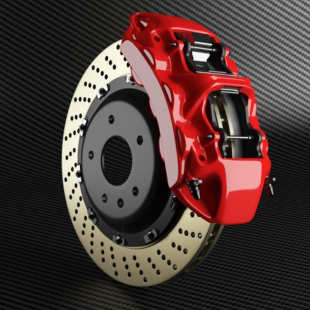 Foto de Automobile braking system. Aeration steel brake disk with perforation and red six pistons calipers and pads. Tuning auto parts on carbon background 3d. - Imagen libre de derechos