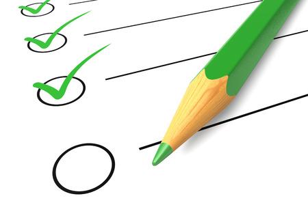 Photo pour Checklist list check white mark questionnaire isolated green pencil ok yes elections diagnostics - image libre de droit