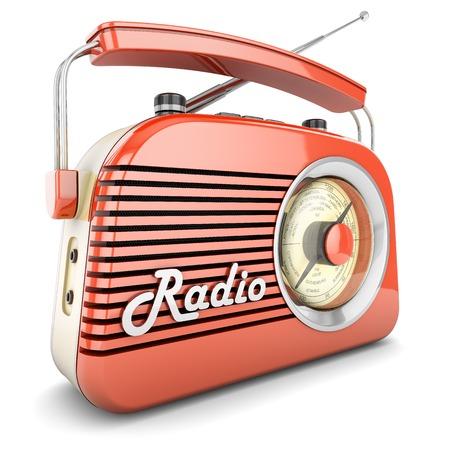 Foto de Radio retro portable receiver red recorder vintage object isolated - Imagen libre de derechos
