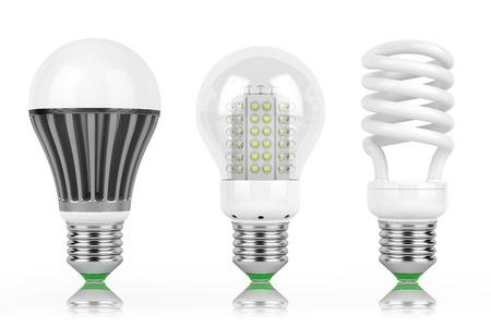 Foto de LED lamps group row bulb power safety isolated white background, - Imagen libre de derechos