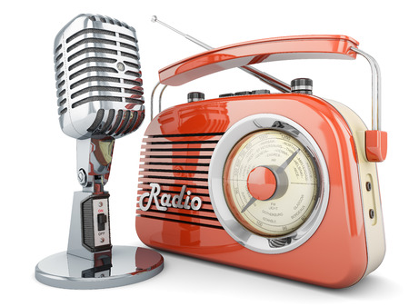 Photo for ON AIR  radio microphone retro vintage fm broadcasting interview transmitter - Royalty Free Image