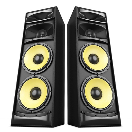 Photo for Power stereo sound system with yellow speakers isolated - Royalty Free Image