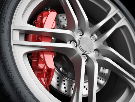 Photo pour Car wheel and brake system. Red caliper, sport tire. Closeup. Illustration 3d - image libre de droit