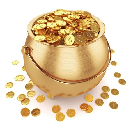 Photo for Pot of gold coins isolated on white background 3d - Royalty Free Image