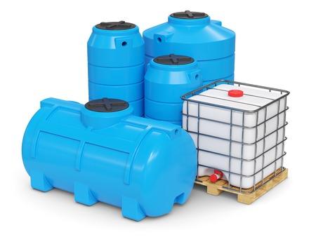 Photo pour Large plastic tanks for autonomous water supply. 3d render - image libre de droit
