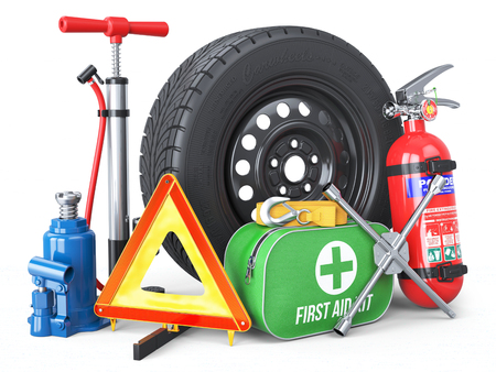 Photo pour A set of automotive accessories. Spare wheel, fire extinguisher, first aid kit, emergency warning triangle, jack, tow rope, wheel wrench, pump. Objects isolated on white background. 3d - image libre de droit