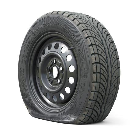 Foto de Punctured car wheel isolated on white background. 3d render illustration - Imagen libre de derechos