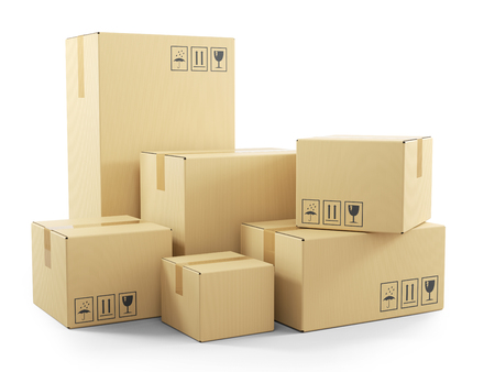 Foto de Group of goods in cardboard boxes. Objects isolated on white background 3d - Imagen libre de derechos