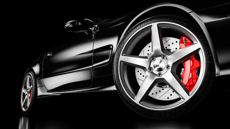 Foto de Black luxury car in studio lighting. Closeup wheel shot. 3d render - Imagen libre de derechos