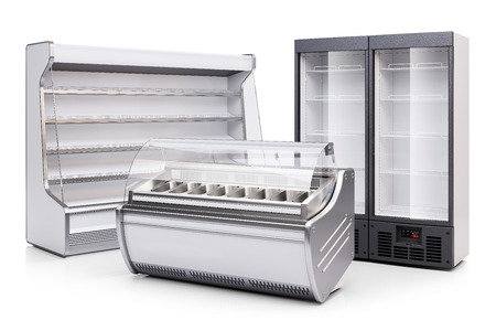 Photo for Freezer showcase, refrigerated cabinet and fridge showcase isolated on white background 3d - Royalty Free Image