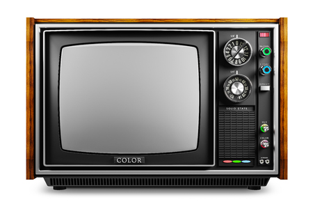 Photo pour An old TV with a monochrome kinescope isolated on white background 3d - image libre de droit