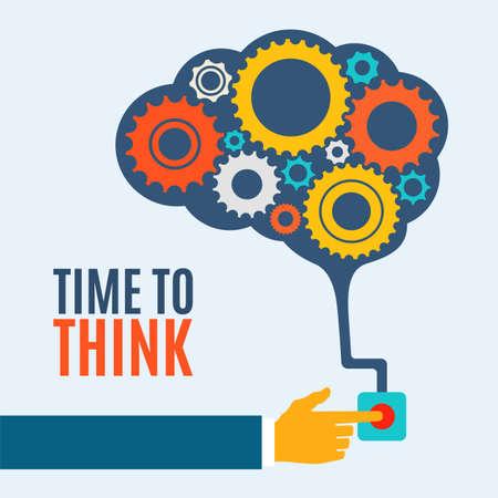 Illustration pour Time to think, creative brain idea concept, background illustration - image libre de droit