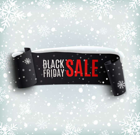 Illustration for Black Friday sale background with black realistic ribbon banner and snow. Sale. Winter sale. Christmas sale. New year sale. Vector illustration - Royalty Free Image