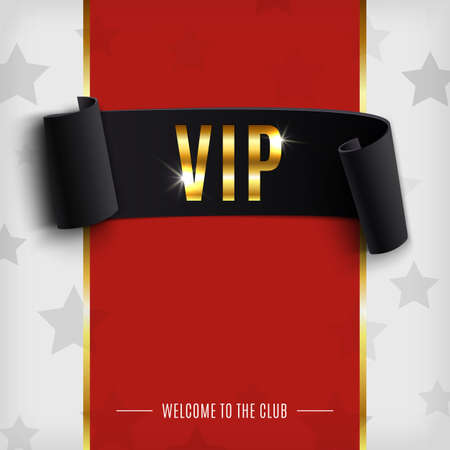 Illustration pour VIP background with realistic black curved ribbon on red carpet. Vector illustration - image libre de droit