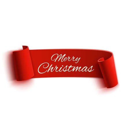 Ilustración de Red realistic detailed curved paper Merry Christmas banner isolated on white background. Vector illustration - Imagen libre de derechos