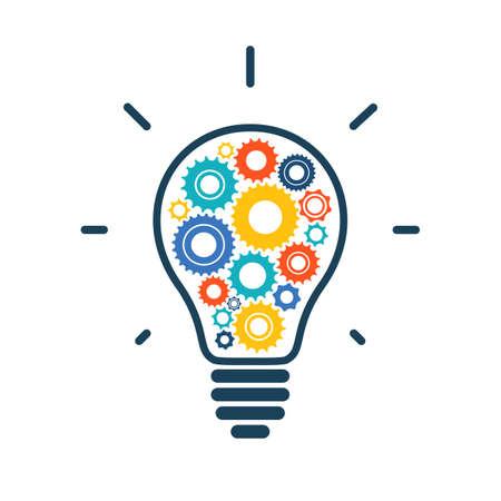 Illustrazione per Simple light bulb conceptual icon with colorful gears inside. Vector illustration - Immagini Royalty Free