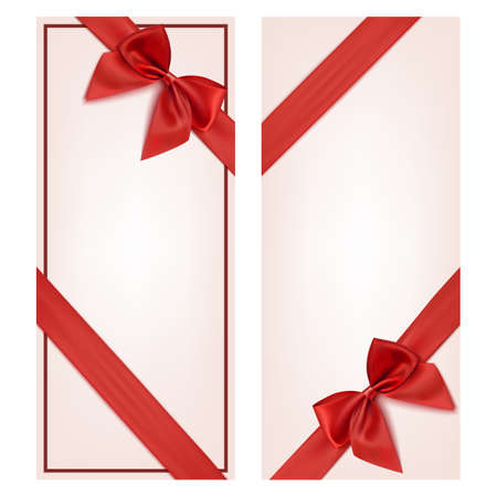 Illustration pour Gift card with red ribbon and a bow. Gift voucher template. Vector illustration - image libre de droit