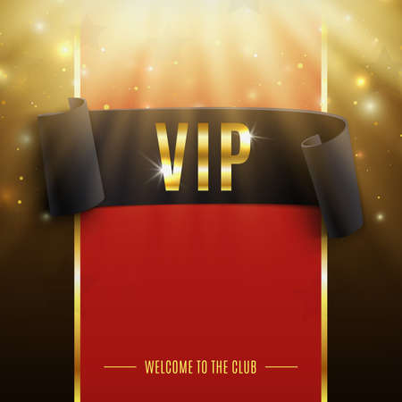 Illustration pour VIP background with realistic black curved ribbon, rays of light, particles and stars. Vector illustration - image libre de droit