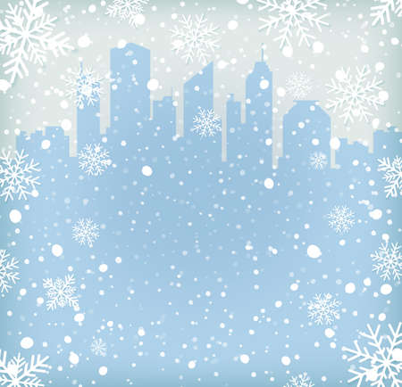 Illustration pour Background with snow flakes and city silhouette. Vector illustration - image libre de droit