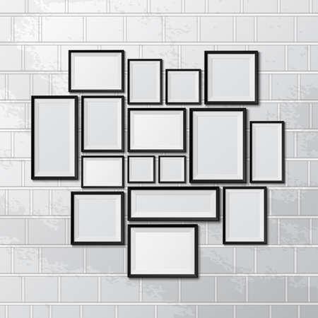Illustration pour Big set of picture frames on brick wall. Vector illustration - image libre de droit