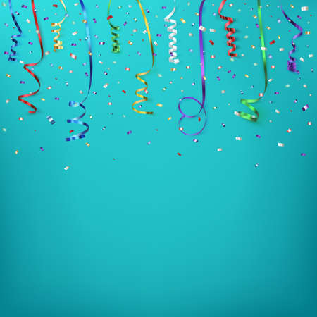 Illustration for Celebration background template with confetti and colorful ribbons. Vector illustration - Royalty Free Image