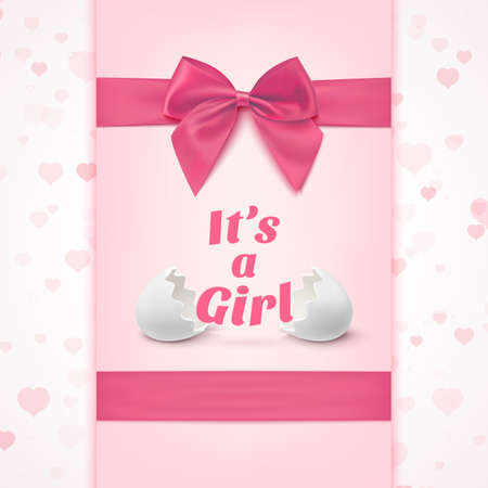 Ilustración de Its a girl. Template for baby shower celebration, or baby announcement card. Greeting card with two egg shells, pink ribbon and a bow. Vector illustration. - Imagen libre de derechos