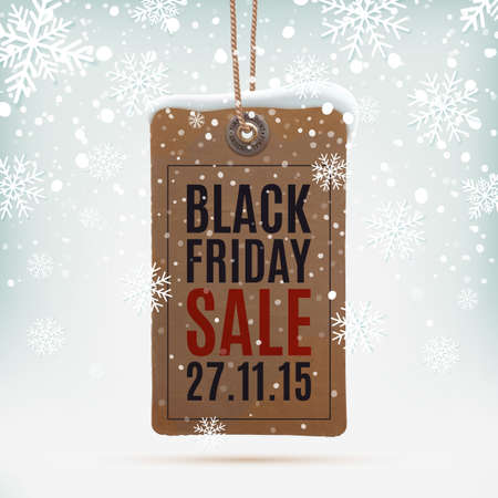 Illustration for Black Friday sale. Realistic, vintage price tag on winter background wit snow and snowflakes. Vector illustration. - Royalty Free Image