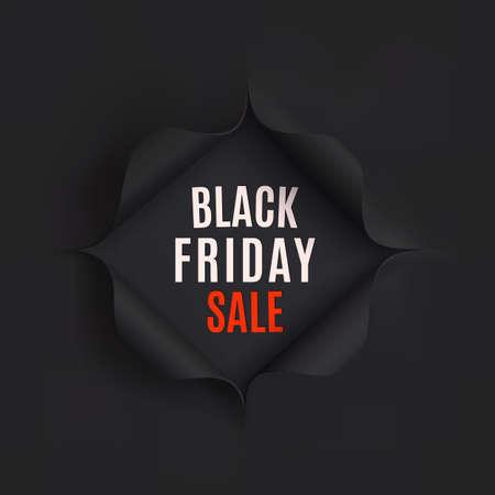Ilustración de Black Friday sale background. Hole in black paper. Vector illustration. - Imagen libre de derechos