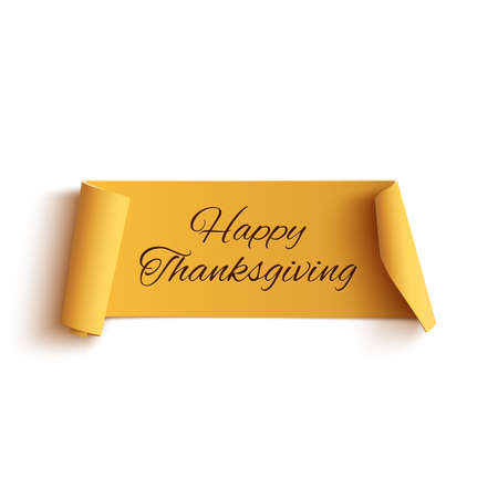 Illustration pour Happy thanksgiving, yellow curved banner, isolated on white background. Vector illustration. - image libre de droit