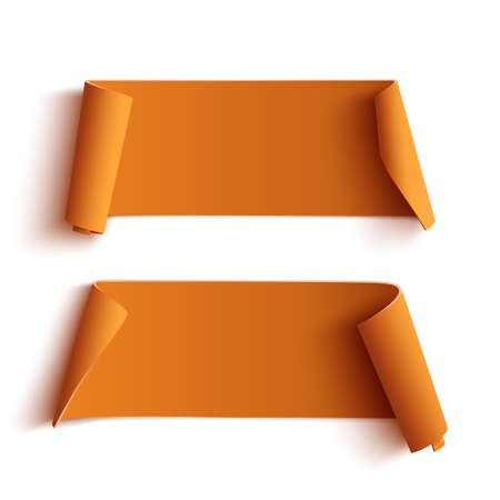 Ilustración de Two curved orange banners, isolated on white background. Vector illustration. - Imagen libre de derechos