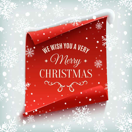 Illustration pour We wish you a Very Merry Christmas, greeting card. Red, curved, paper banner on winter background with snow and snowflakes. Vector illustration. - image libre de droit