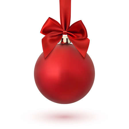 Illustration for Red Christmas ball with ribbon and a bow, isolated on white background. Vector illustration. - Royalty Free Image