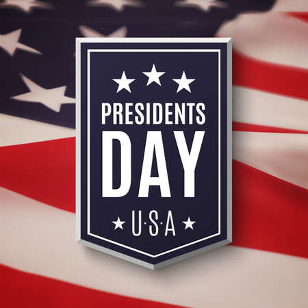 Illustration pour Presidents day background. Banner on top of American flag. Vector illustration. - image libre de droit