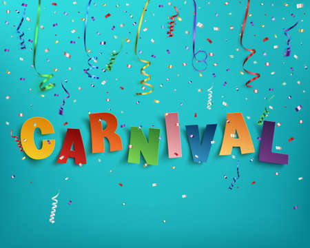 Illustration pour Colorful handmade typographic word carnival on background with ribbons and confetti. Poster, flyer or brochure template. Vector illustration. - image libre de droit