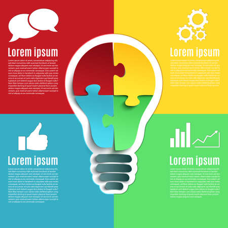 Photo for Bright idea, creative conceptual infographics with bulb and four jigsaw puzzle pieces. Vector illustration. - Royalty Free Image