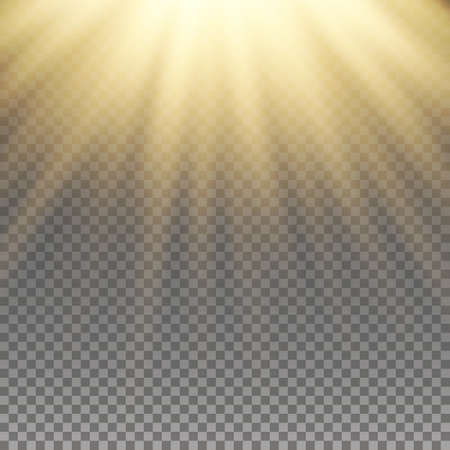 Illustration for Yellow warm light effect, sun rays, beams on transparent background. Vector illustration. - Royalty Free Image
