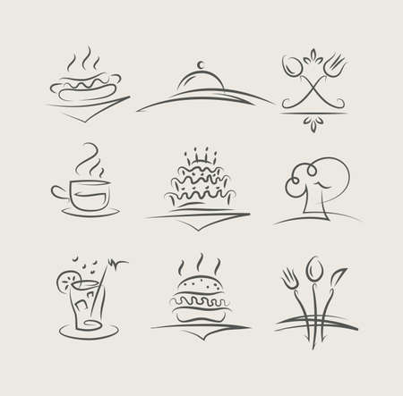 food and utensils set of icons vector illustration