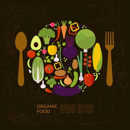 Ilustración de Organic food. Elements and icons for cards, illustration, poster and web design. - Imagen libre de derechos