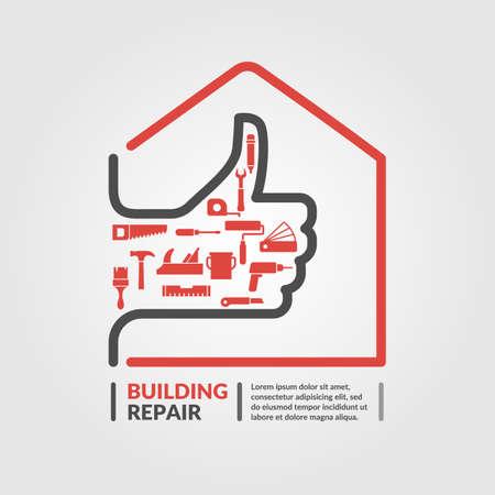 Ilustración de Building repair. Elements and icons for cards, illustration, poster and web design. - Imagen libre de derechos