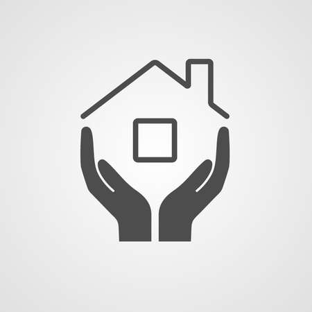 Ilustración de Icon home. The symbol of the company for the construction repair and maintenance of the house. Vector illustration. The image of the hands and the roof of the house. - Imagen libre de derechos