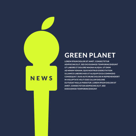 Ilustración de Bright poster with microphone and Apple on the eco theme on a dark background. Vector illustration in flat minimalistic style - Imagen libre de derechos