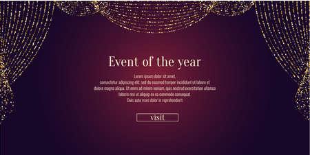 Ilustración de Invitation template for the event. Vector illustration. Background open curtain. - Imagen libre de derechos
